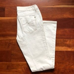 White boot cut jeans